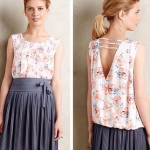 Anthropologie Meadow Rue Cream Pleated Floral Top